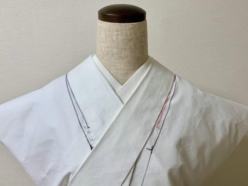帯芯の着物衽側で広げた抱巾