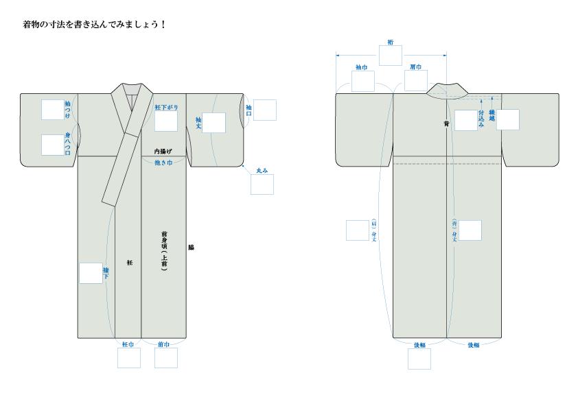 着物の寸法記入シート